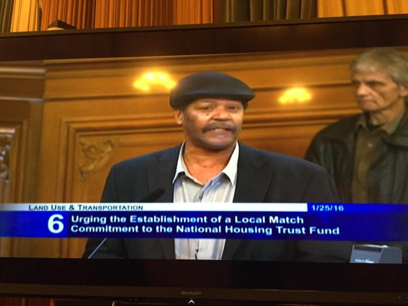 Mark Anthony Johnson, formerly homeless individual and member of CORE speaks to the importance of NHTF matching funds