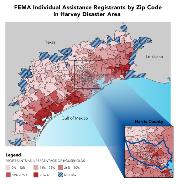 FEMA IA Registrants by Zip Code in Harvey Disaster Area
